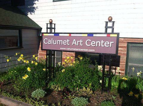Calumet Art Center Sign in Summer