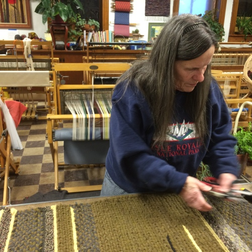 """Virginia Fournier twining a 5' 10"""" rug."""